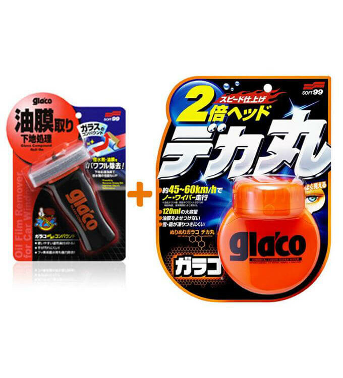 Soft99 Glaco Roll On Large + Glass Compound Set